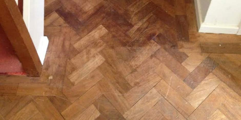 Before-HALLWAY OILED IROKO PARQUET FLOOR IN ST. ALBANS