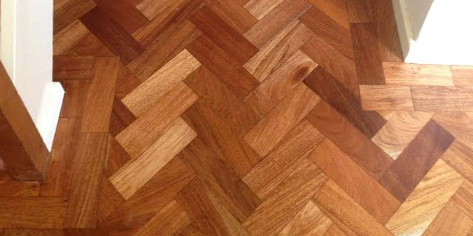 After-HALLWAY OILED IROKO PARQUET FLOOR IN ST. ALBANS
